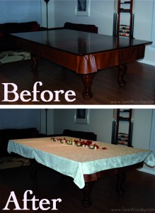 before After pool table table cloth