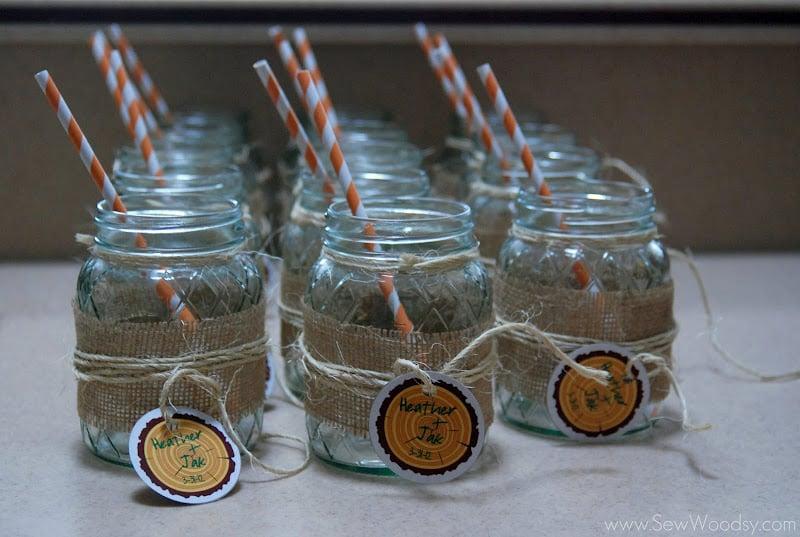 Mason Jar Burlap Glasses 1