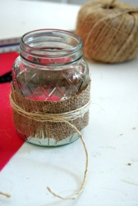Mason  Jar Burlap Glasses 12