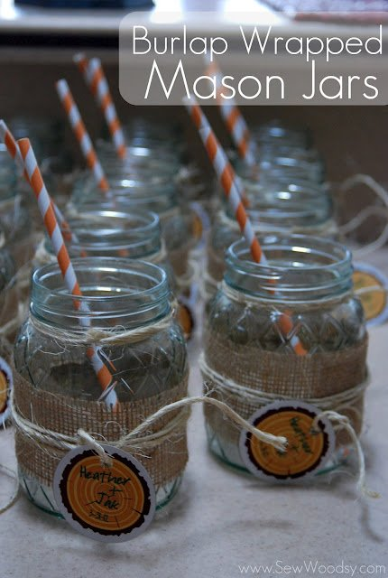 Burlap Wrapped Mason Jars
