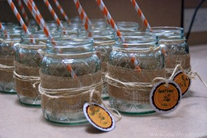 Mason  Jar Burlap Glasses 3