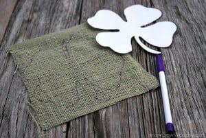 Burlap Wrapped Four-Leaf Clover