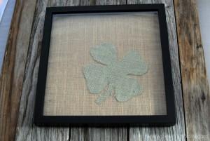 burlap framed 4 leaf clover 10