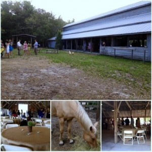 Rustic outdoor wedding in a barn with burlap