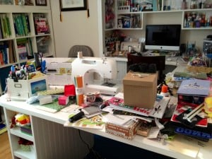 messy craft room