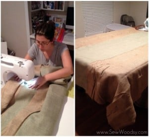 sewing burlap table cloths