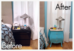 before & after antique nightstand