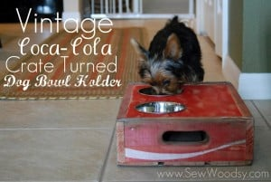 vintage coca-cola crate turned dog bowl