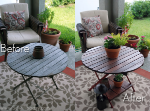 before-and-after restored wood table