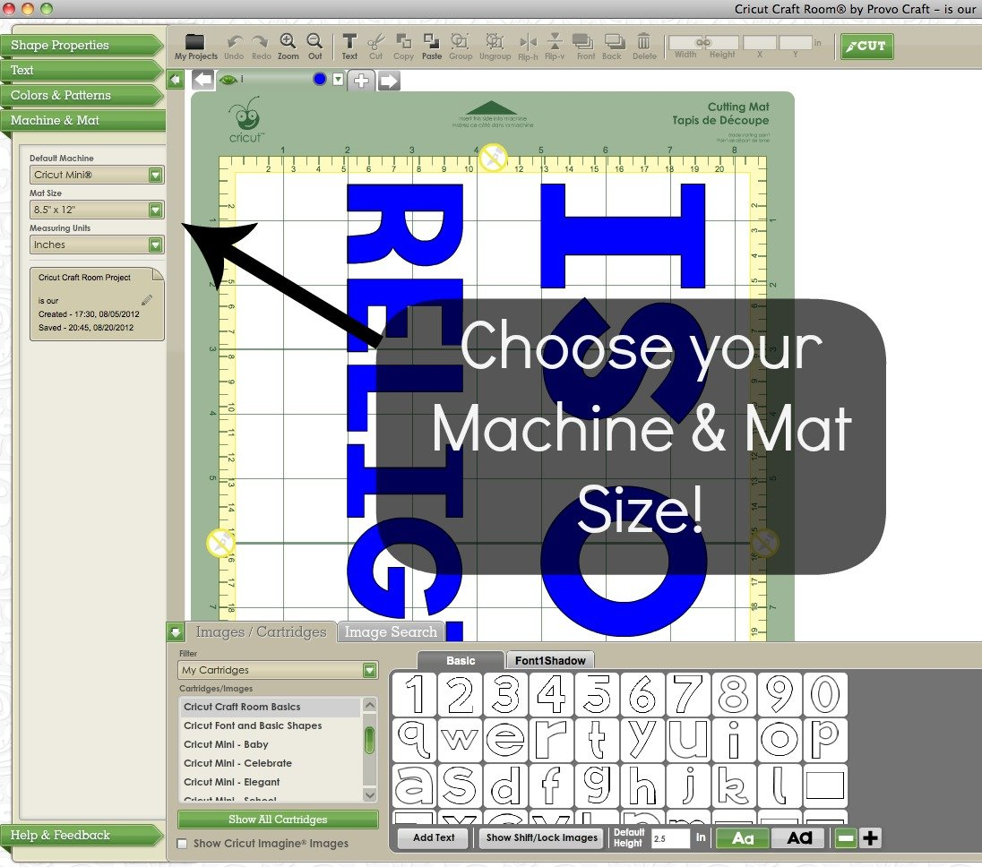 cricut machine and mat size