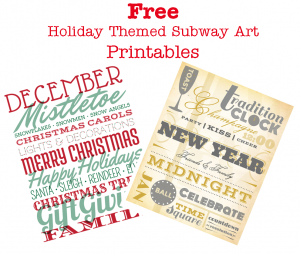FREE Holiday Themed Subway Art Printables #holiday #printables #subwayart #christmas #newyears