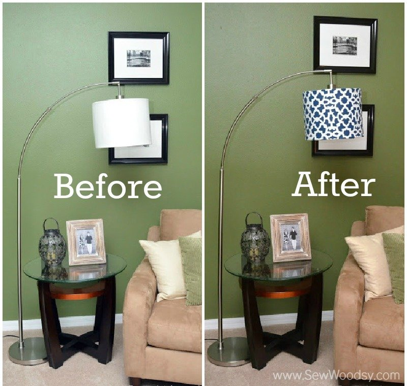 How to Stencil a Lampshade - Before and After Photo