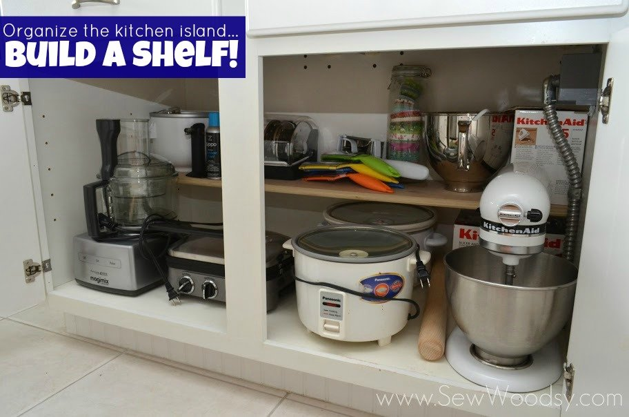 Organize the Kitchen Island... Build a Shelf! http://SewWoodsy.com #diy #PureBond #Kitchen #Organize