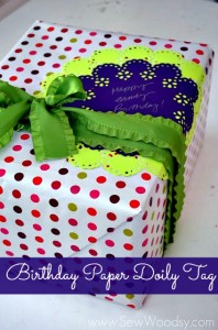 Birthday Paper Doily Tag