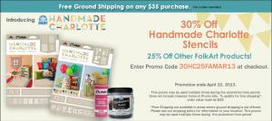 30% off Handmade Charlotte™ Stencils