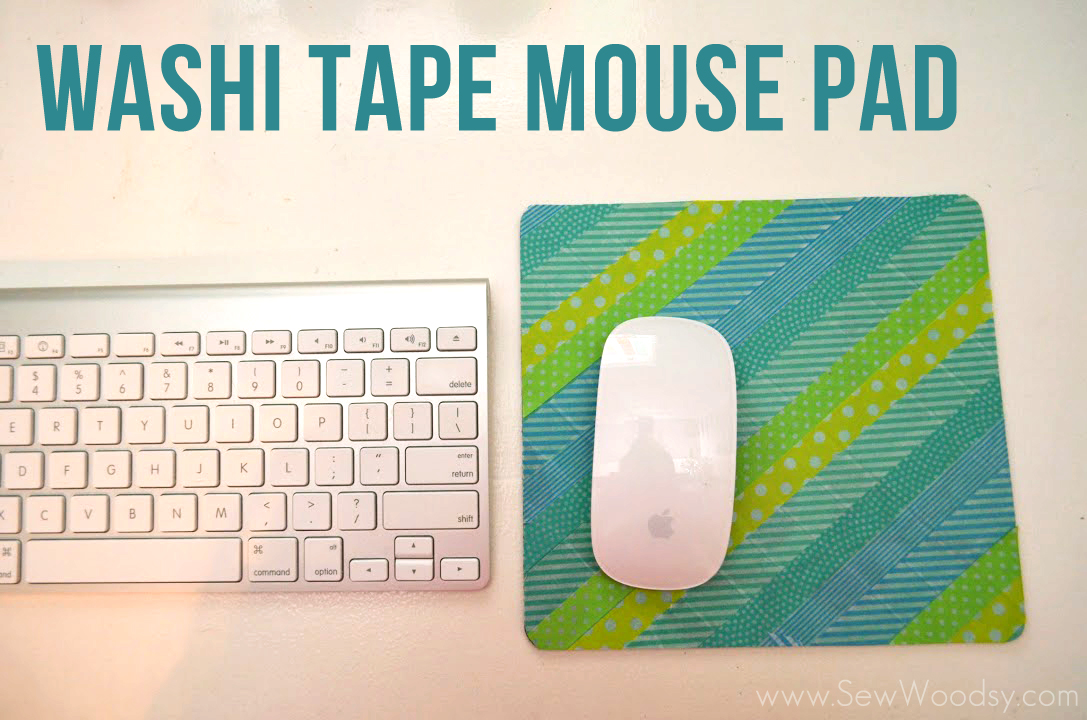 Washi Tape Mouse Pad via SewWoodsy.com #DIY #Crafts #WashiTape