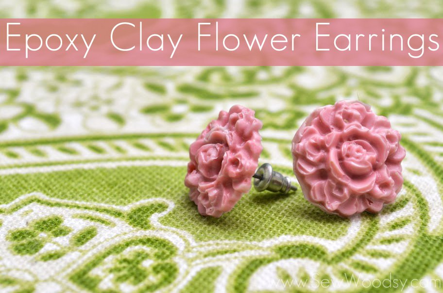 epoxy clay flower earrings via SewWoodsy.com #12MonthsOfMartha #MarthaStewartCrafts