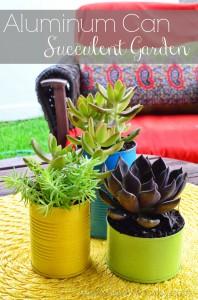 Aluminum Can Succulent Garden via SewWoodsy.com #LifeForLess & #pmedia