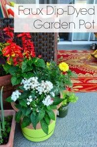 Faux Dip-Dyed Garden Pot