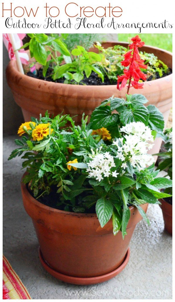 how to create outdoor potted floral arrangements sew