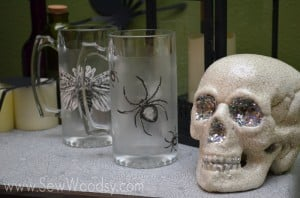 Creepy Crawly Mugs from SewWoodsy.com using @PlaidCrafts Supplies #MarthaStewartCrafts #MSHalloween #Halloween #Crafts