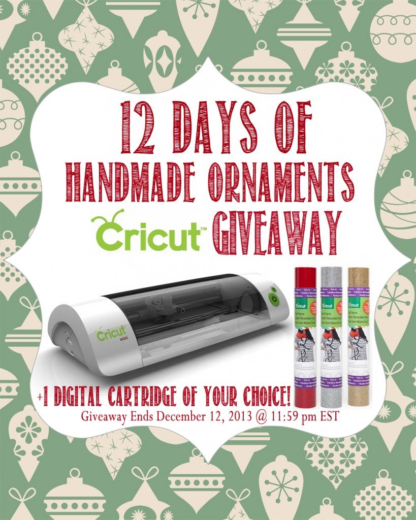12 Days of Handmade Ornaments Cricut Giveaway from SewWoodsy.com