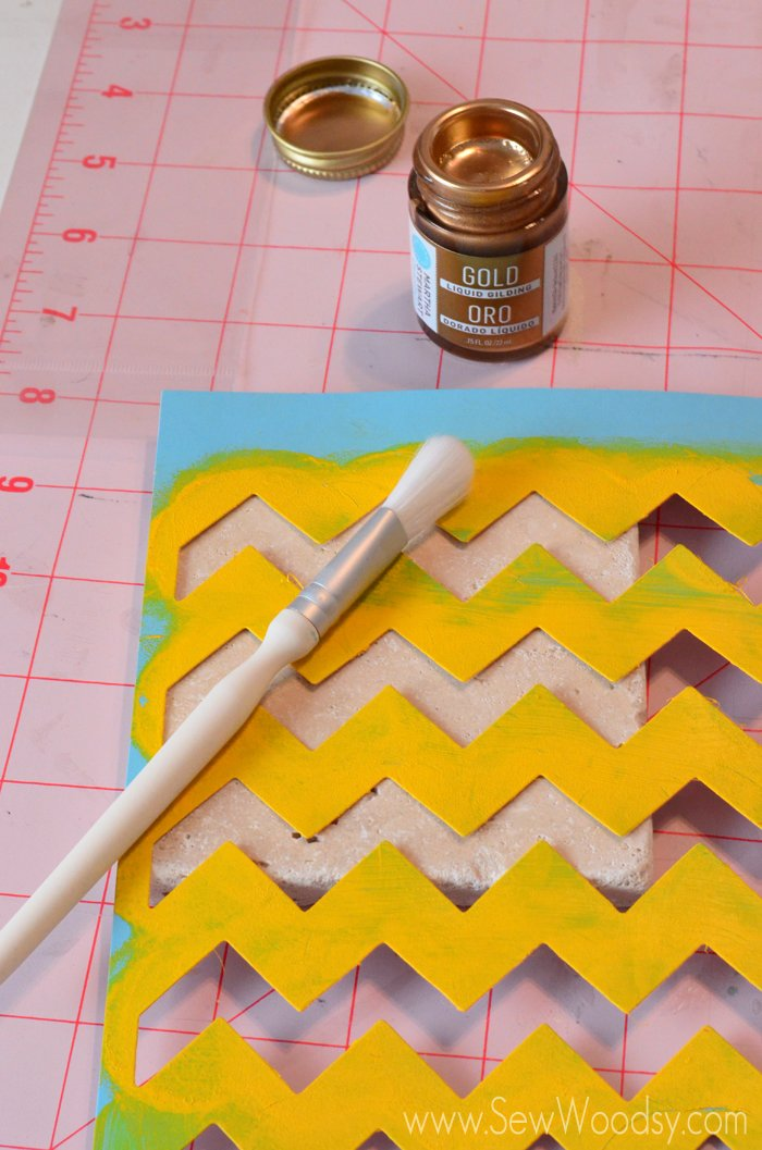 Chevron Gilded Coasters from SewWoodsy.com #12MonthsOfMartha #MarthaStewartCrafts #gift #coasters #craft