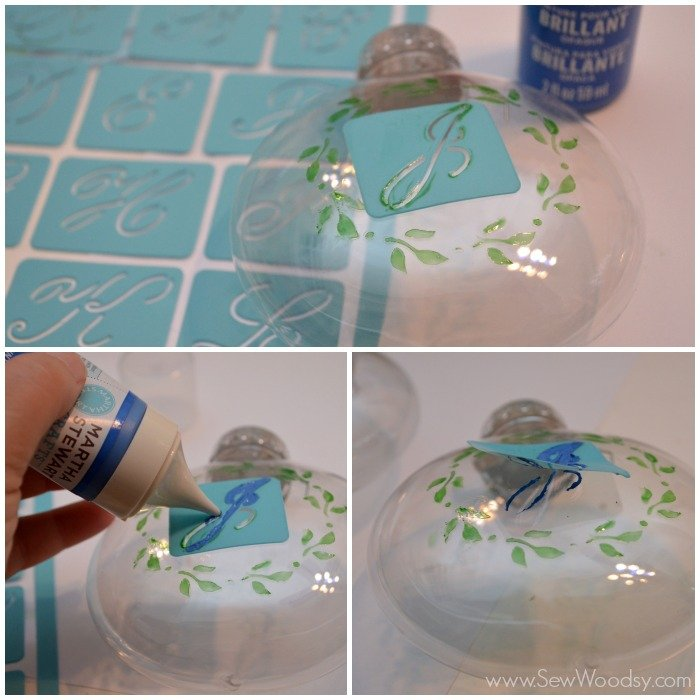 Glass Painted Monogram Ornament