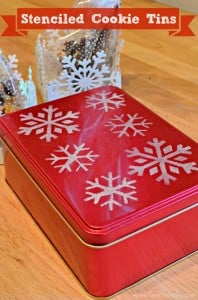 Make Stenciled Cookie Tins in no time using acrylic paint, stencils, and sponges!