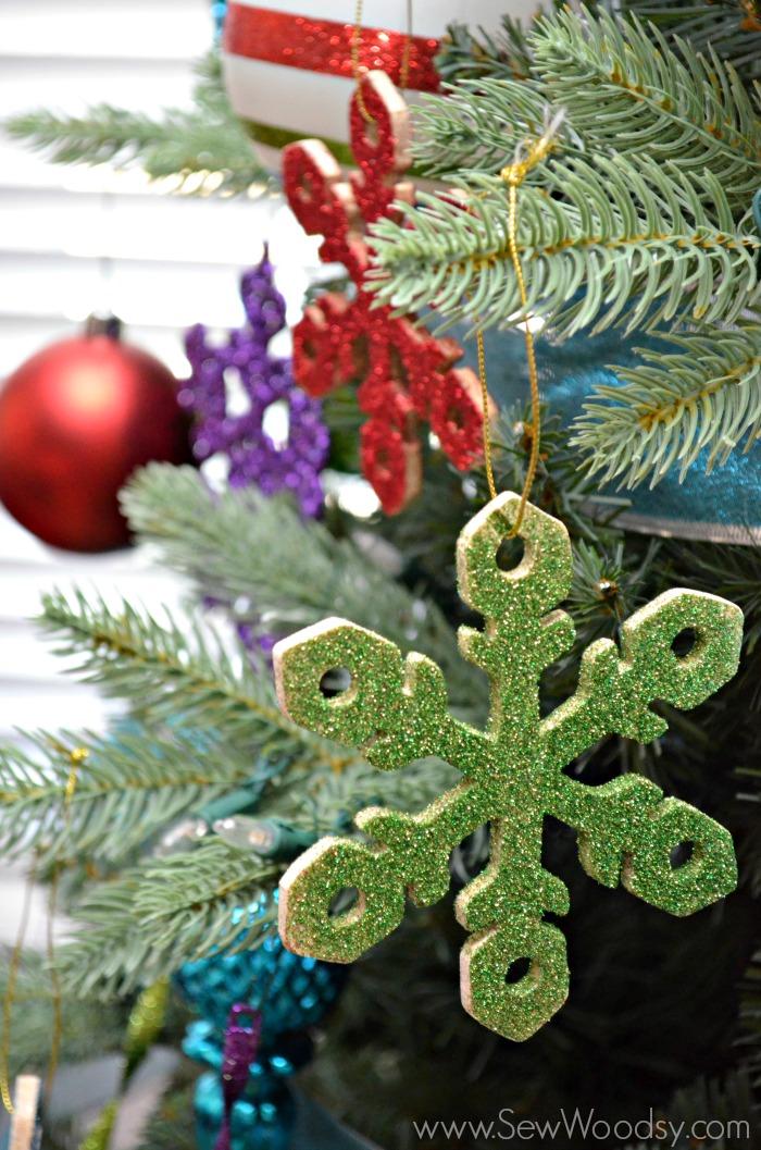 handmade glitter snowflake wooden ornament 12