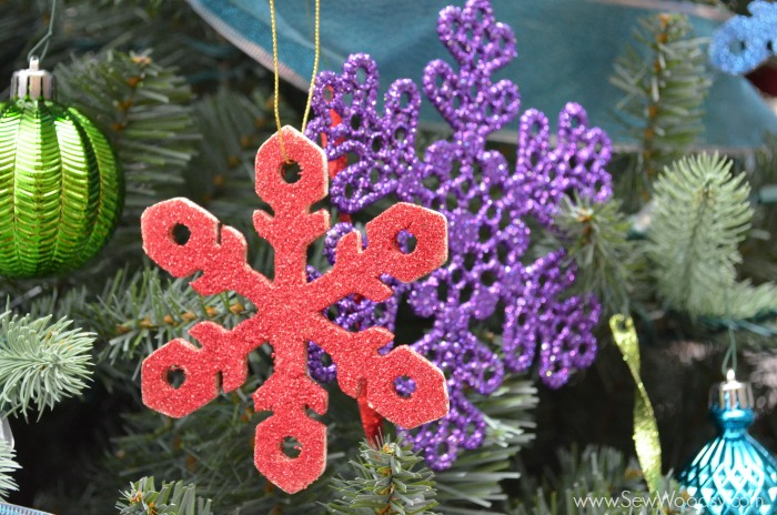 handmade glitter snowflake wooden ornament from SewWoodsy.com