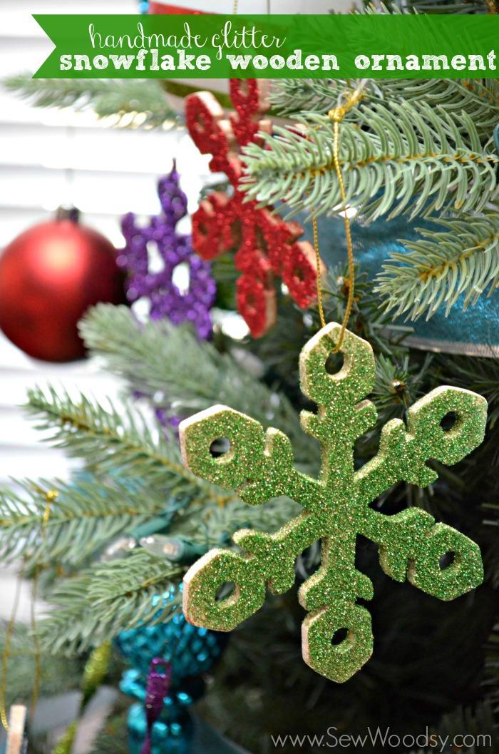 handmade glitter snowflake wooden ornament