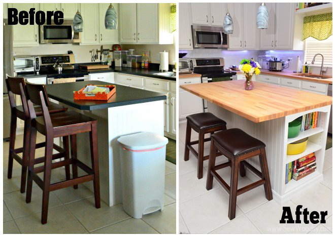 Before and After Butcher Block Island