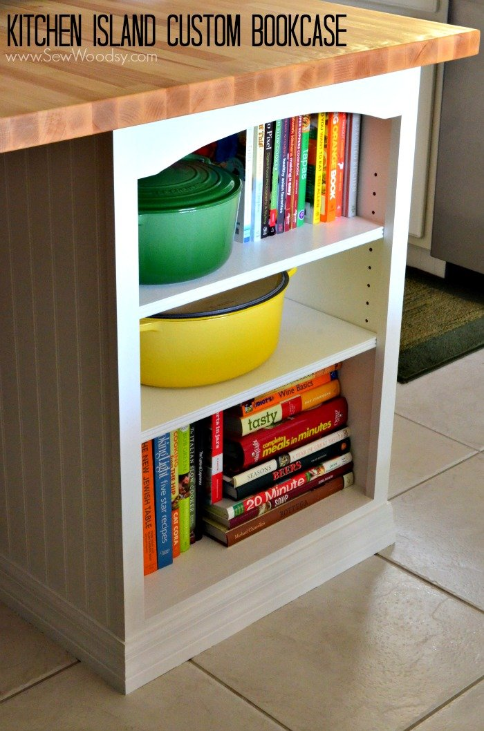 Kitchen Island Custom Bookcase video tutorial created for @homesdotcom by SewWoodsy.com #DIY #kitchen