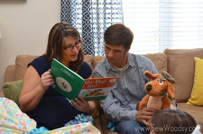 Reading messages in books -- we asked our guest to bring a book instead of a card for the baby's library!