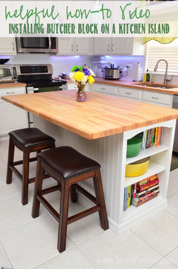 video installing butcher block on a kitchen island sew woodsy. Black Bedroom Furniture Sets. Home Design Ideas