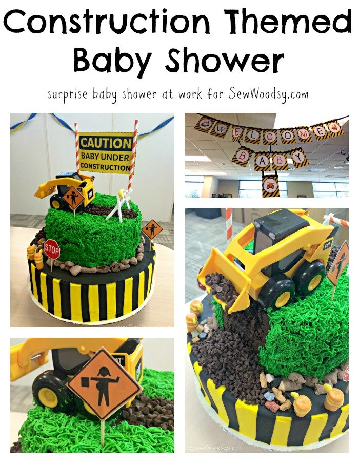 Construction Themed Baby Shower - a surprise baby shower at work for SewWoodsy.com