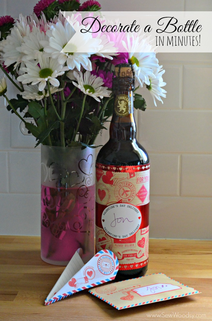 Decorate a Bottle in minutes from SewWoodsy.com #12MonthsOfMartha #MarthaStewartCrafts #ValentinesDay #Craft