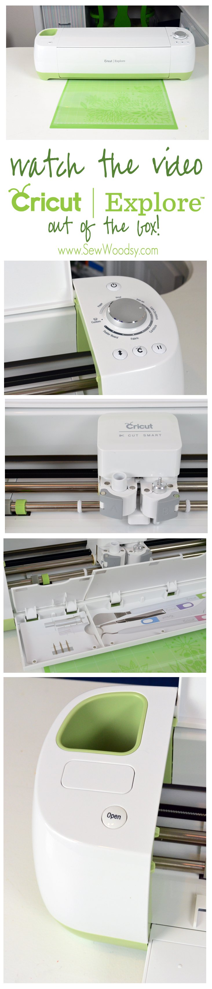 Watch the Video about the Cricut Explore Out of the Box from SewWoodsy.com