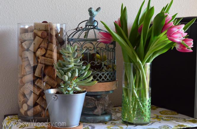 glitter stencil vase
