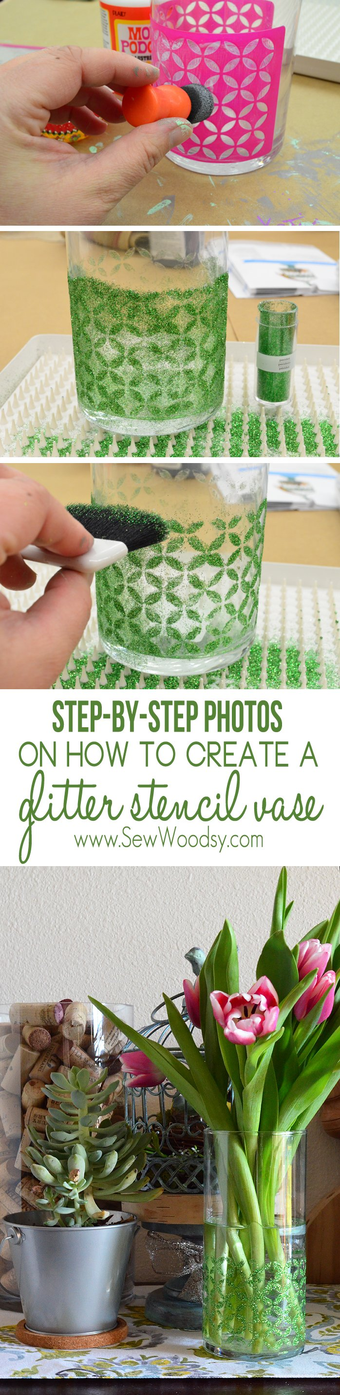how to create a glitter stencil vase
