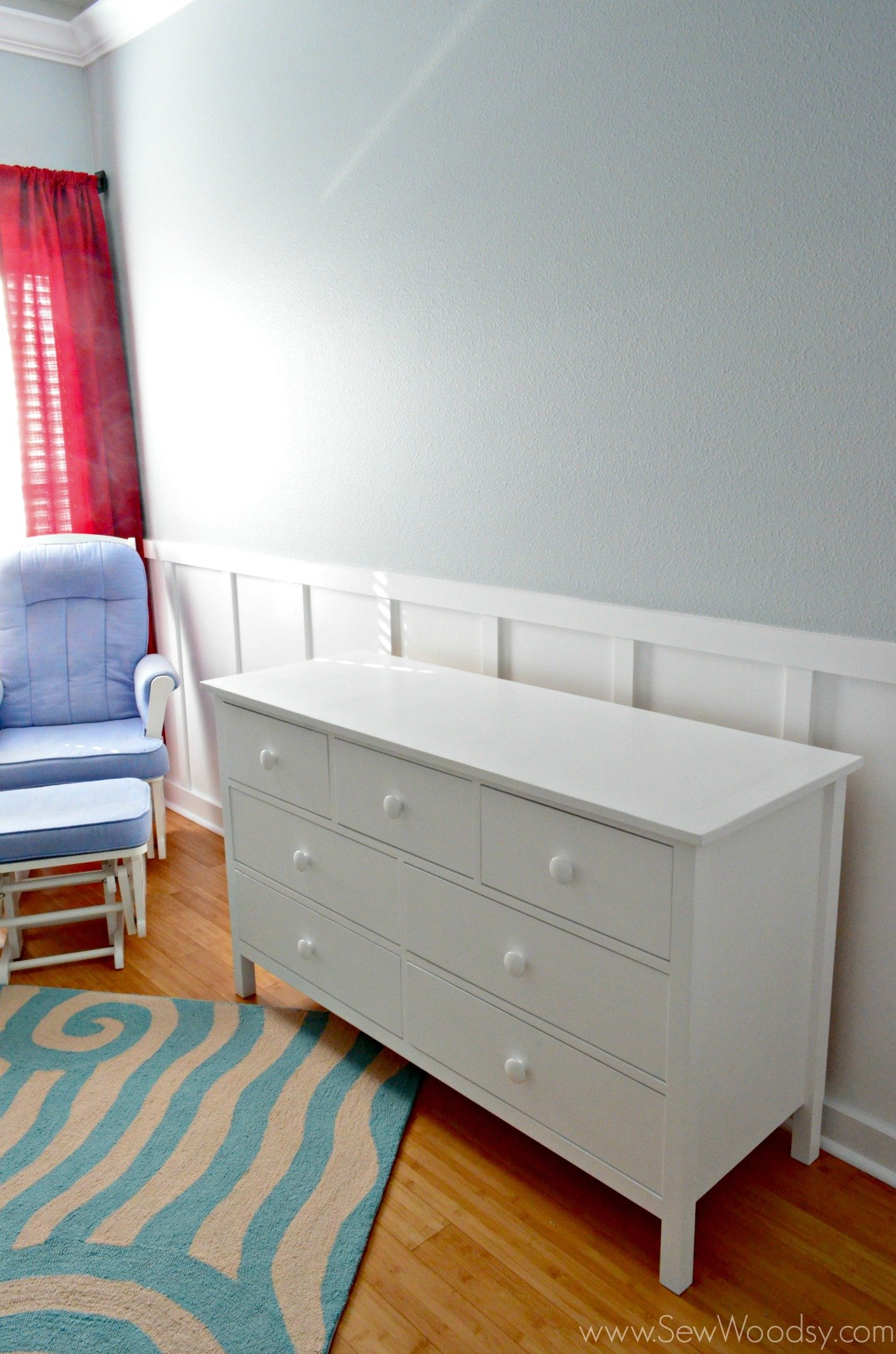 How to make dresser drawers - I M In Love With How The Dresser Turned Out And Also In Love With The Rug In The Nursery It S From Lamps Plus And Its Called Resort Yala Blue Area Rug