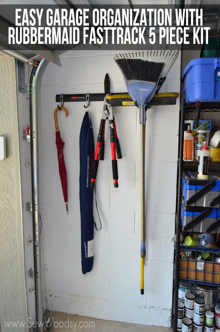 Easy Garage Organization with Rubbermaid FastTrack 5 Piece Kit #pmedia #FastTrack