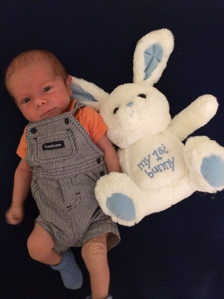 newborn with his first easter bunny!