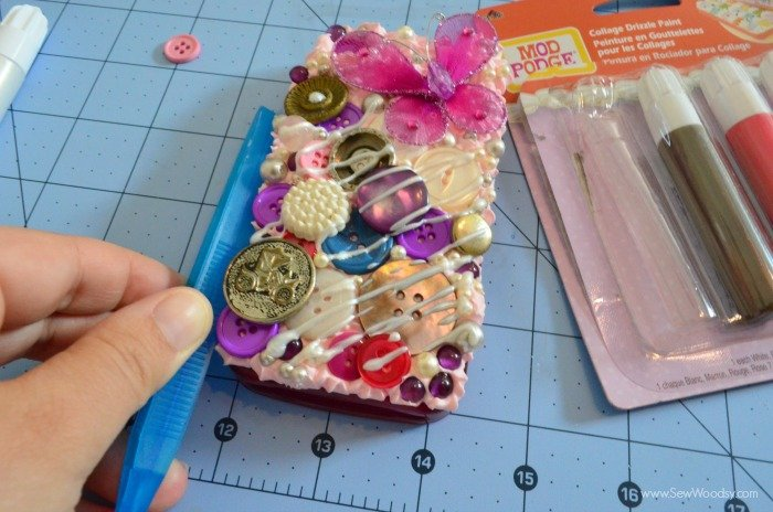 Decoden Button Phone Case with Mod Podge Collage Clay