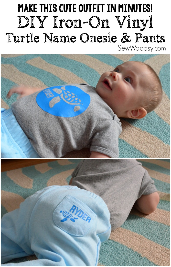 DIY Iron-On Vinyl Turtle Name Onesie & Pants