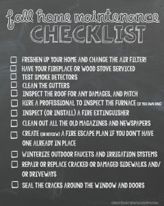 Fall Home Maintenance Checklist Printable
