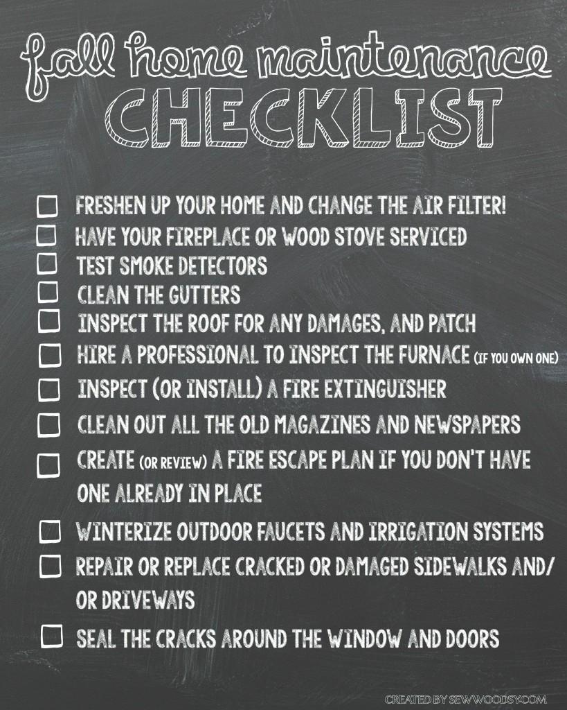 Fall Home Maintenance Checklist Printable #HealthierHome
