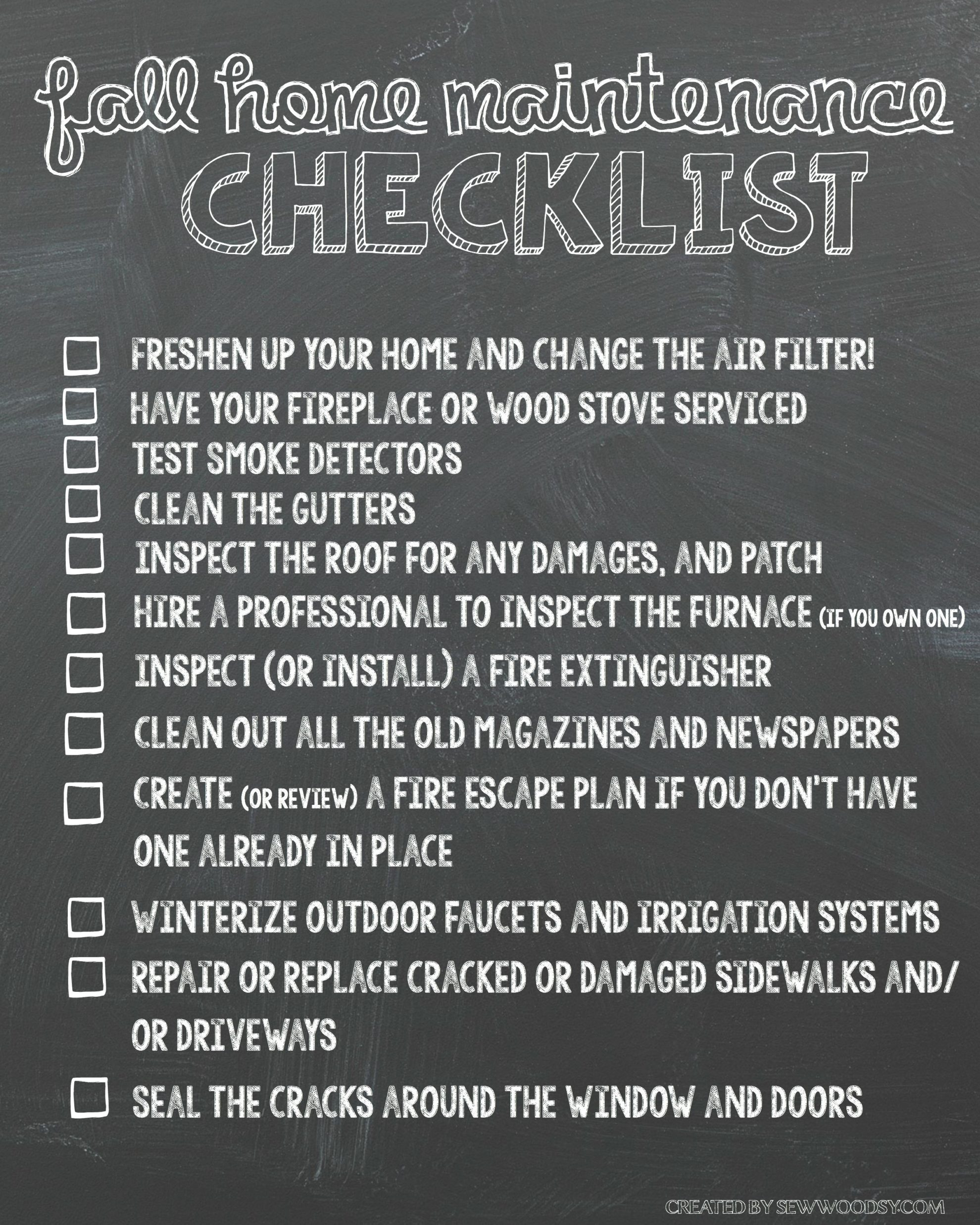 Declarative image pertaining to home maintenance checklist printable