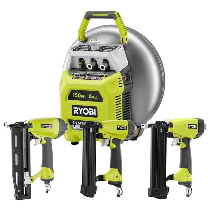 RYOBI 6 gallon pancake compressor, brad nailer, finish nailer and stapler